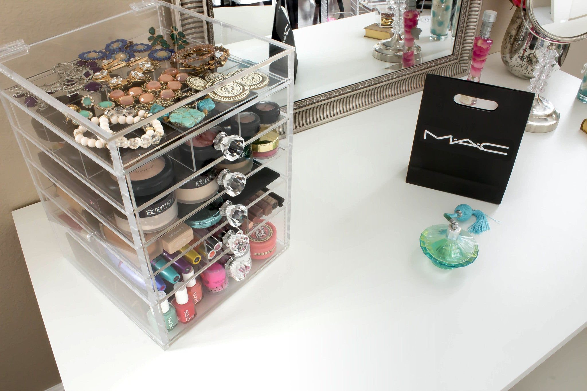 Clear Acrylic Makeup Organizer Kardashianstyle Storage Cutie Cube - Acrylic cube makeup organizer with drawers
