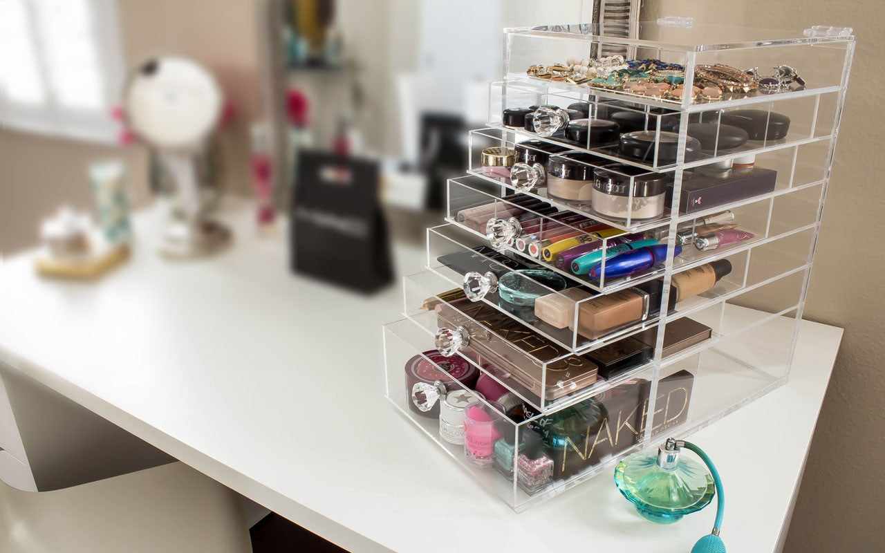 Cutie Cube Acrylic Makeup Organizer with Clear Diamond Handles Blushes, toner, holder