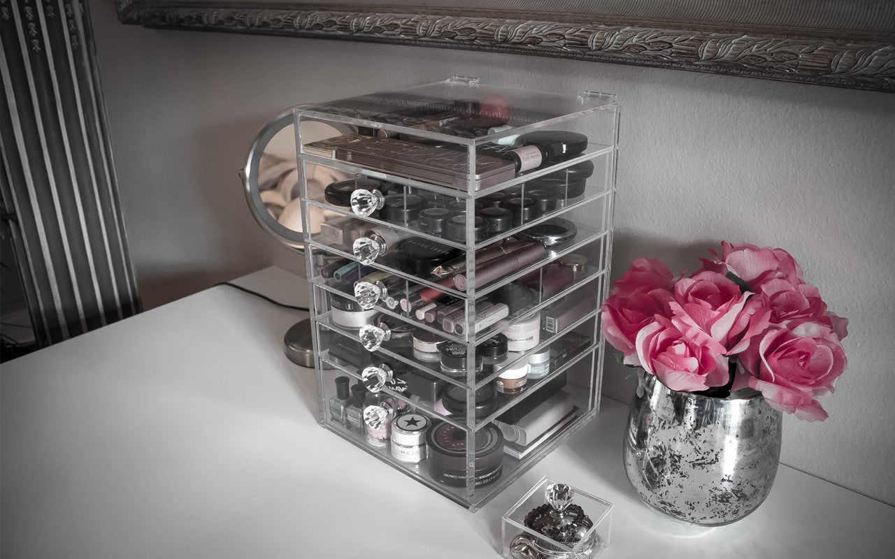 Makeup Storage Cube with 6 Drawers Diamond Handles Medium Grande Cutie Cube Acrylic Box