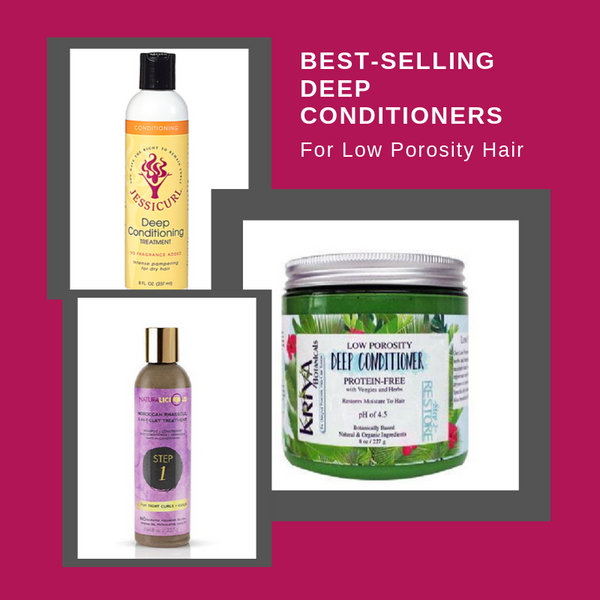 picture collage of best-selling deep conditioners for low porosity hair