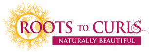 Roots to Curls logo and tag line, Naturally Beautiful, in pink and yellow font.