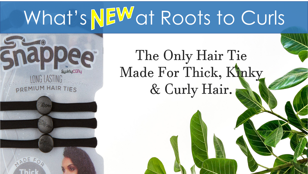 Black Snappee Hair Ties for thick, kinky, and curly hair. Available in Canada at Roots to Curls
