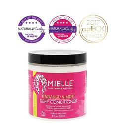 Mielle Organics Babassu and Mint Deep Conditioner. 8 ounce bottle. Use to restore strength and moisture to natural hair.