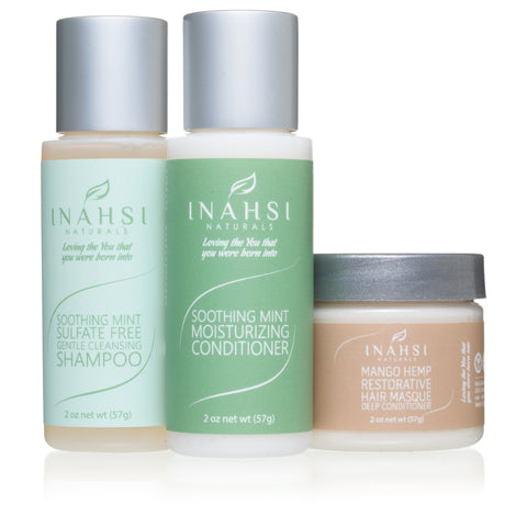 Inahsi Naturals Wash Day Collection Travel Set. 2 ounce bottles of Soothing Mint Sulfate-free Shampoo, Soothing Mint Moisturizing Conditioner, Mango Hemp Restorative Hair Masque. Great for travel or trial. - Roots to Curls