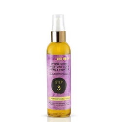 Naturalicious Divine Shine Moisture Lock & Frizz Fighter, 4 ounce spray bottle. Light-weight oil. Use for hot oil treatment and sealing natural hairstyles.