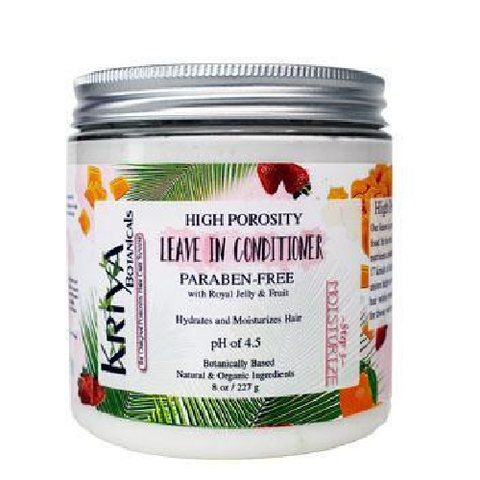 8 ounce clear jar with silver lid and white creamy contents. White label reads Kriya Botanicals High Porosity Leave In Conditioner, Paraben-Free, pH of 4.5. Specially designed for the needs of high porosity hair, Available in Canada at Roots to Curls.