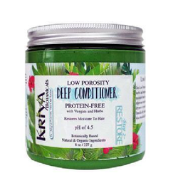 8 ounce clear jar with silver lid. Dark green, creamy contents from the use of kale in the ingredients. White label reads Kriya Botanicals Low Porosity Deep Conditioner, Protein-Free, pH of 4.5. Specifically designed for low to normal porosity hair. Available in Canada at Roots to Curls