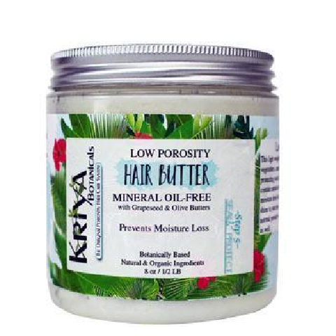 8 ounce clear jar with silver lid. White, creamy contents. White label reads Kriya Botanicals Low Porosity Hair Butter. Specifically designed for low to normal porosity hair. Available in Canada at Roots to Curls