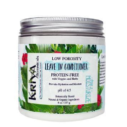 8 ounce clear jar with silver lid. White, creamy contents. White label reads Kriya Botanicals Leave In Conditioner, Protein-Free, pH of 4.5. Specifically designed for low to normal porosity hair. Available in Canada at Roots to Curls