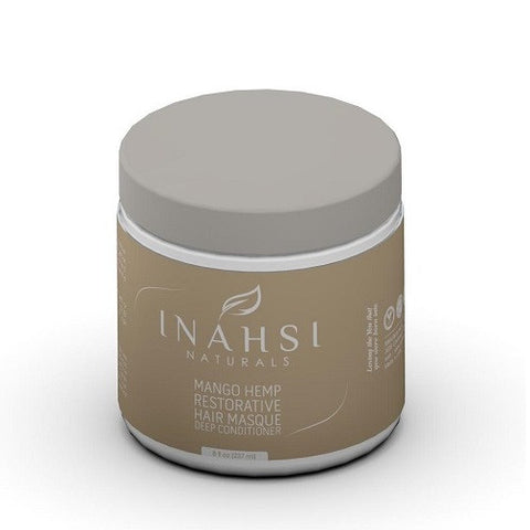Inahsi Naturals Mango Hemp Restorative Deep Conditioner, 8 ounce Jar. Hair Masque for dry natural hair - Roots to Curls