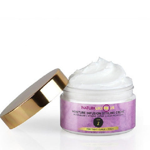 Naturalicious Moisture Infusion Styling Cream. 4 ounce jar. Does the work of 3 products including moisturizer, a styling crème and a heat protectant. Use on natural hair to moisturize and protect natural hair.