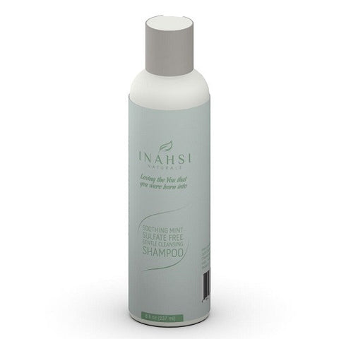 Inahsi Naturals Soothing Mint Sulfate Free Shampoo - 8 ounce bottle. Gentle cleansing shampoo for natural hair. Roots to Curls