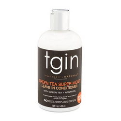 tgin Green Tea Super Moist Leave-In Conditioner. 13.5 ounce bottle. Light-weight moisturizer for naturally curly hair.