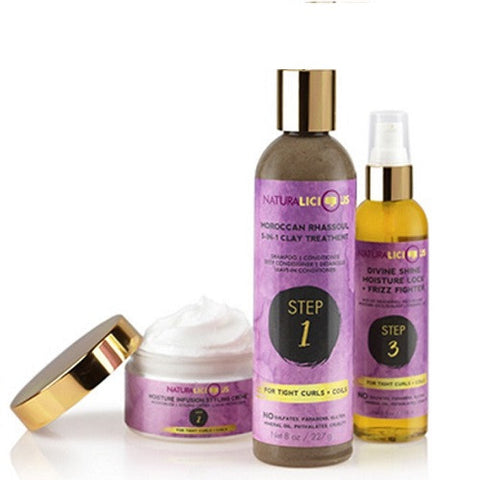 Naturalicious Hello Gorgeous Hair Care System for Tight Curls and Koils. Includes one 12 ounce Moroccan Rhassoul 5-in-1 Clay Treatment , one 4 oz Moisture Infusion Styling Creme, and one 4 oz Divine Shine Moisture Lock & Frizz Fighter. Complete haircare system for natural hair. Three products that do the work of your cleanser, conditioner, leave-in, detangler, moisturizer, heat-protectant, styler, hot-oil treatment and sealer