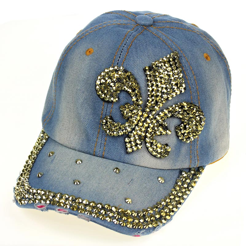 #denim (light blue) fleur de lis cap