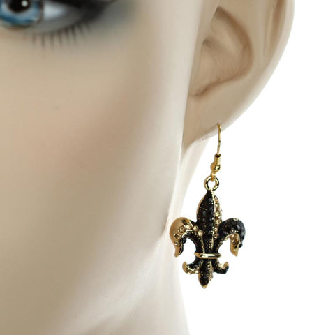 black and gold fleur earrings large