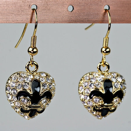 heart fleur de lis earrings