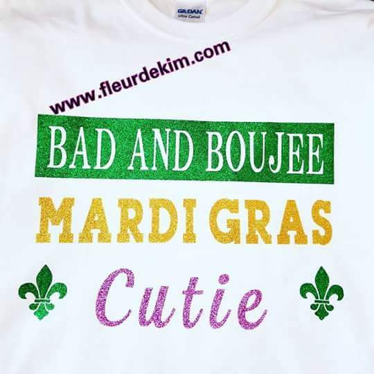 Bad and Boujee Mardi Gras cutie white
