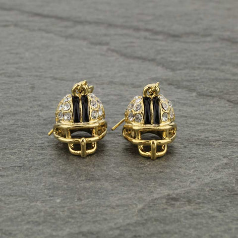 Gold helmet earrings