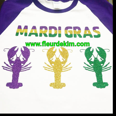 Crawfish Mardi Gras sparkly shirt 3/4 sleeves