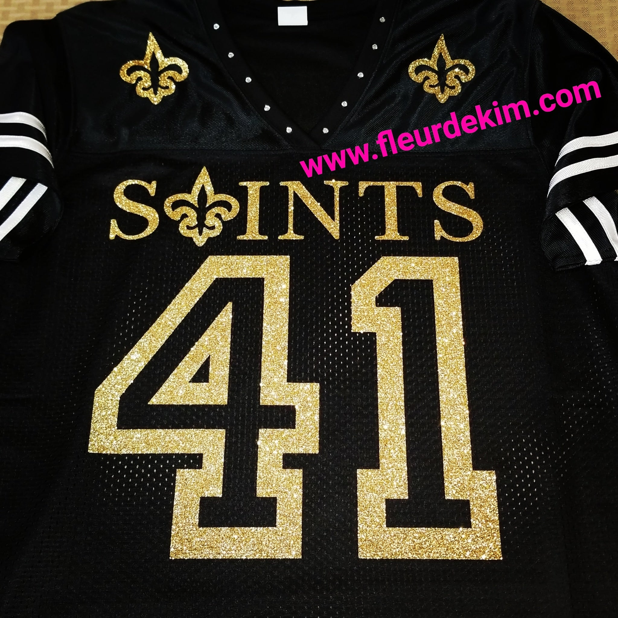 #41 bling jersey w/striped sleeves (open letters)