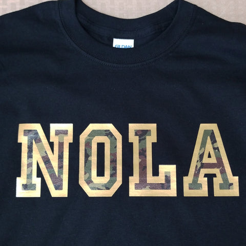 """ NOLA"" camo tshirt REGULAR GOLD (NO glitter)"