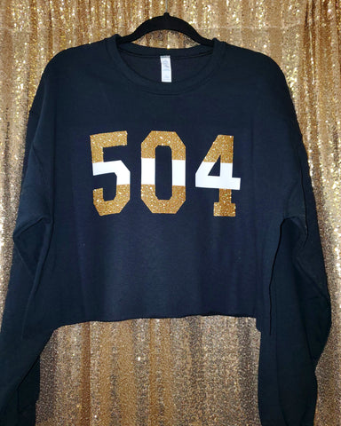 """Oversized"" 504  crop top black"