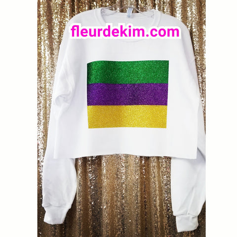 """Oversized"" Mardi Gras sparkly striped crop top"