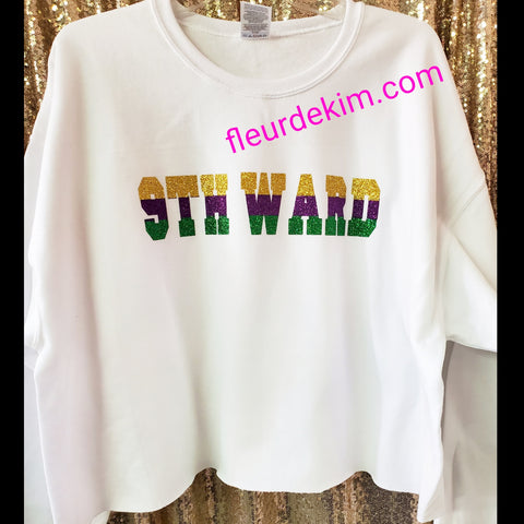 """Oversized"" 9th Ward Mardi Gras crop top"
