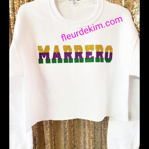 """Oversized"" Marrero Mardi Gras crop top"