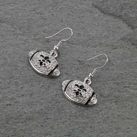 *new* football fleur de lis earrings silver
