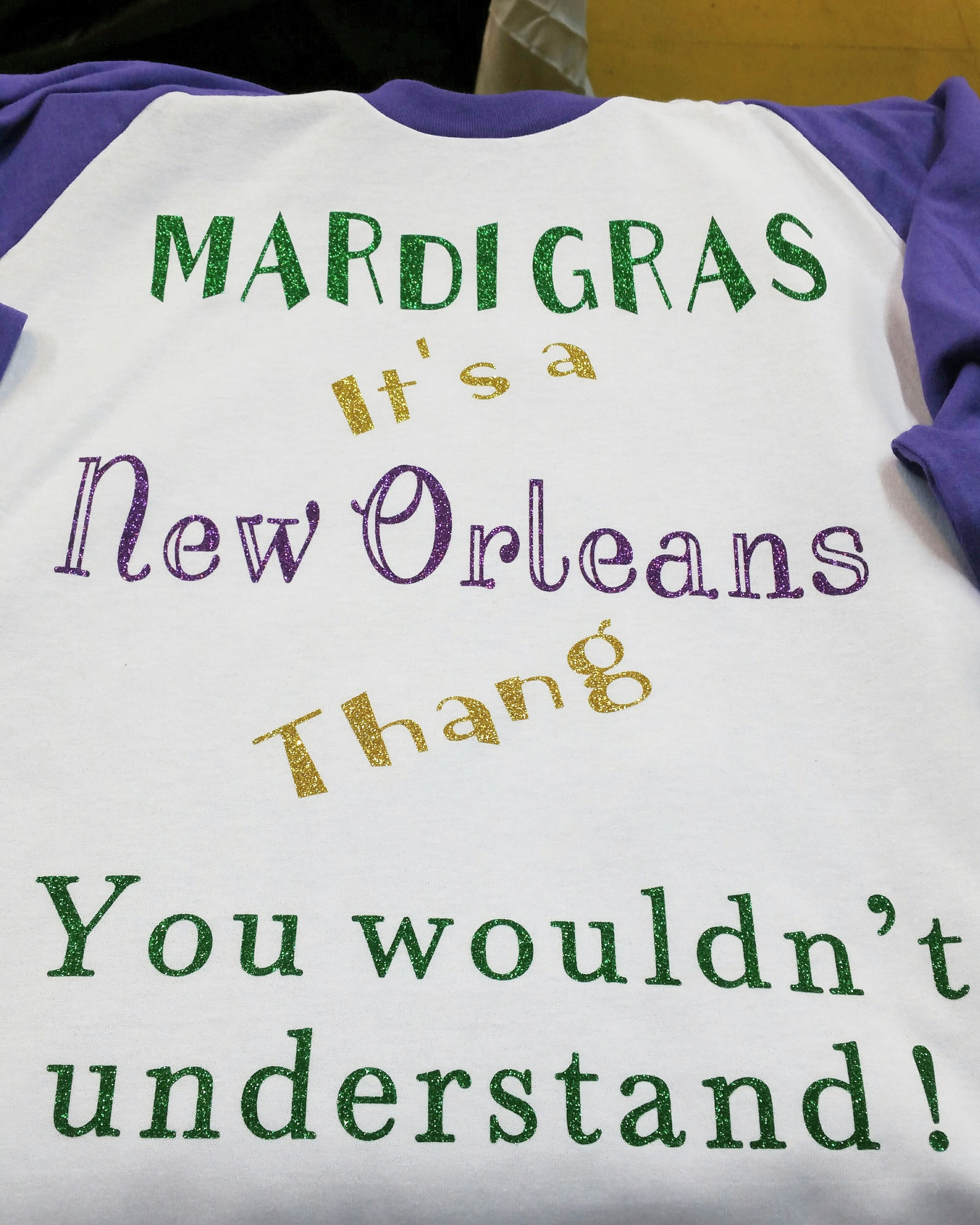 Mardi Gras baseball shirt (purple sleeves)
