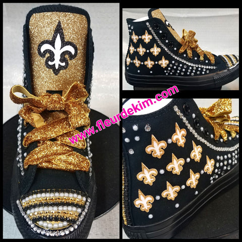 Bling sparkly Fleur de lis tennis shoes