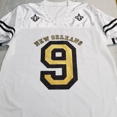 #9 New Orleans sparkly bling jersey white