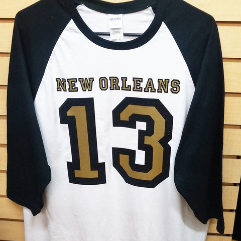 #13 baseball shirt (glitter black)