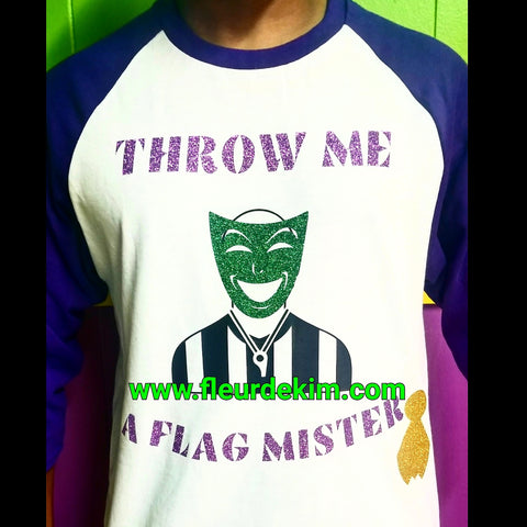 """Throw me a Flag Mister""  baseball shirt (purple sleeves)"