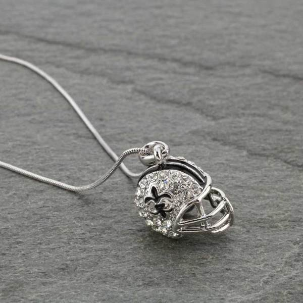 Silver helmet necklace