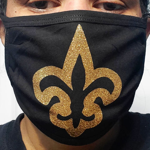 #cotton soft masks glitter fleur de lis (elastic/fabric loops)