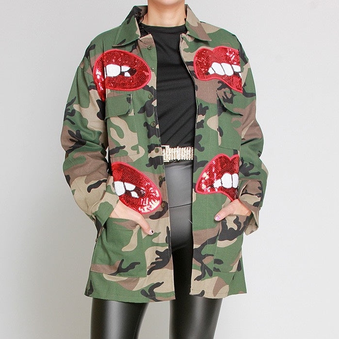 Camo and lips jacket