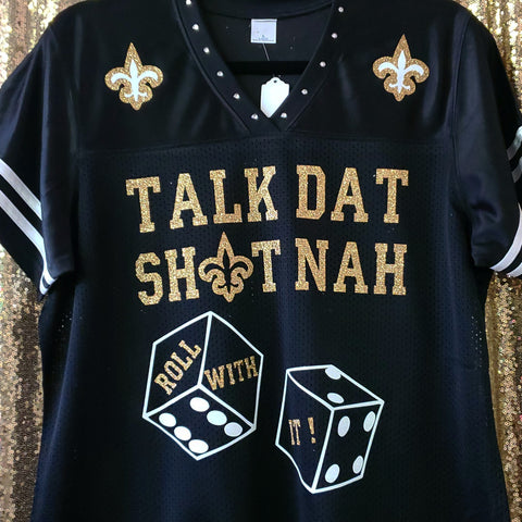 """Talk Dat Sh⚜t nah"" bling jersey w/striped sleeves"