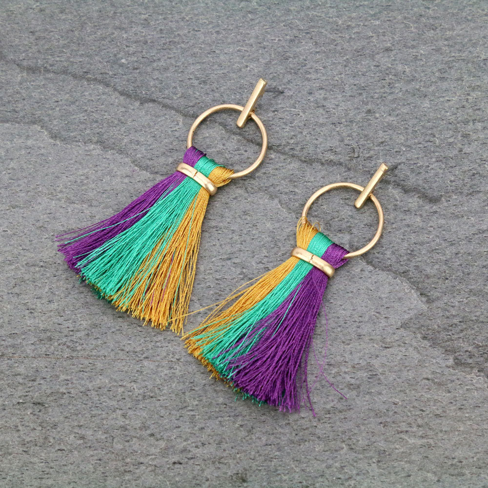 *new* Mardi Gras tassle earrings style 2
