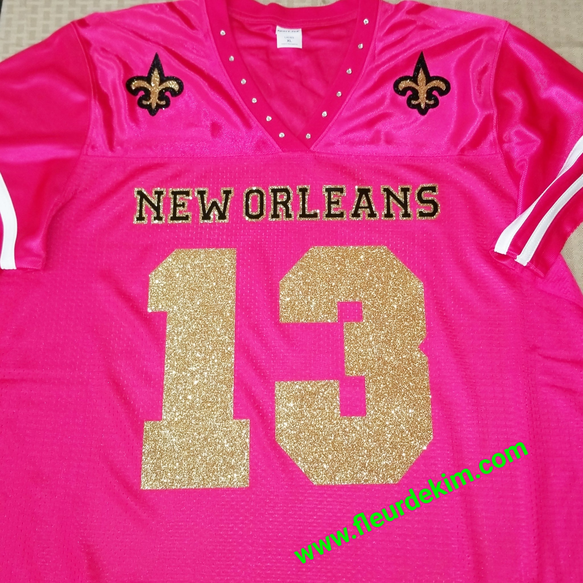 #13 hot pink sparkly bling jersey