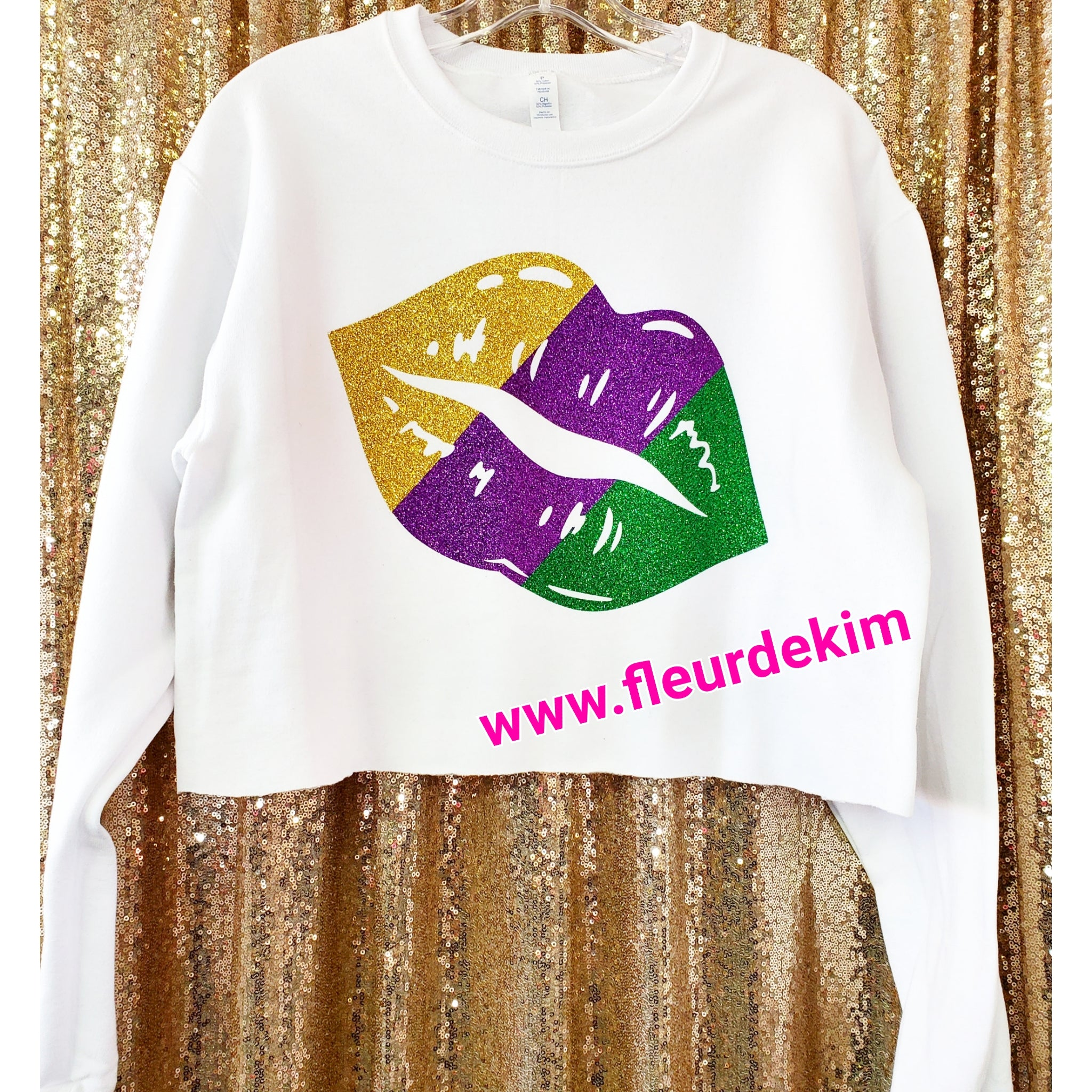 """Oversized"" Mardi Gras lips  crop top"