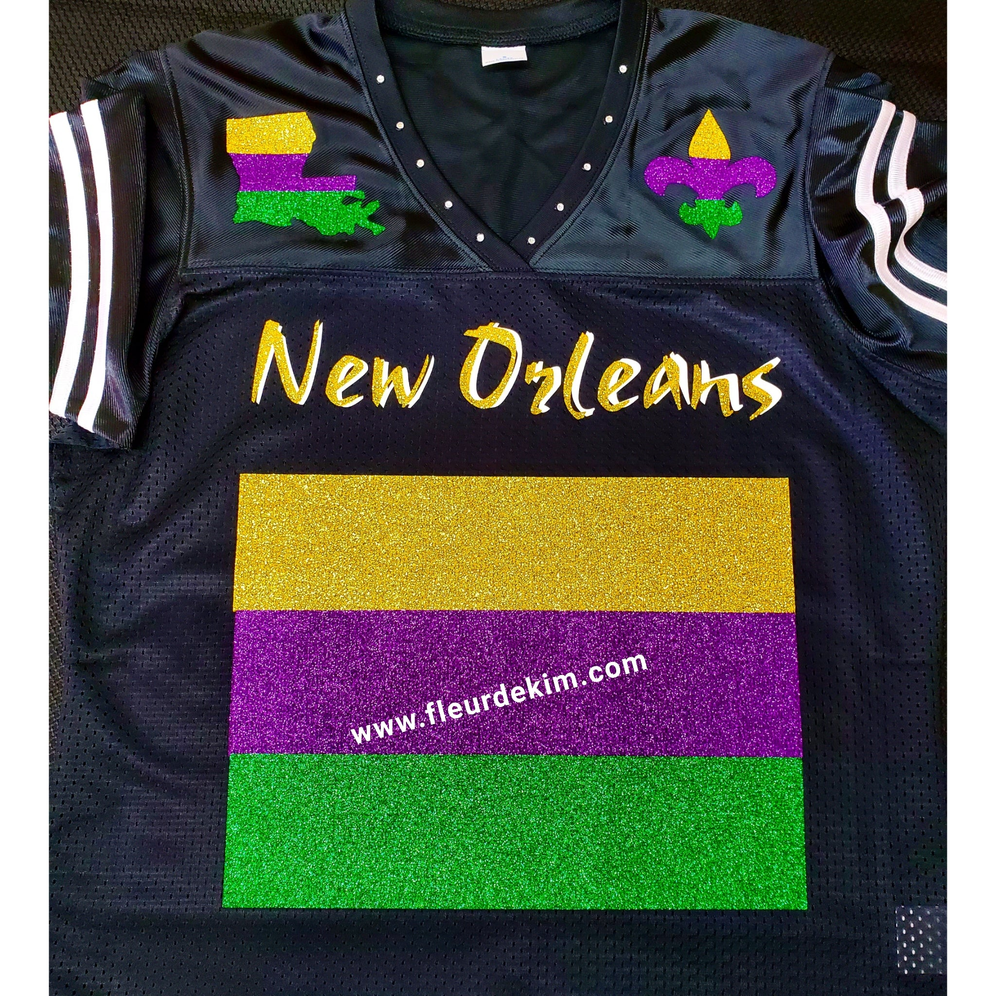 #Mardi Gras jersey black *more stock available in store*(ladies fit, runs small, go a size up)