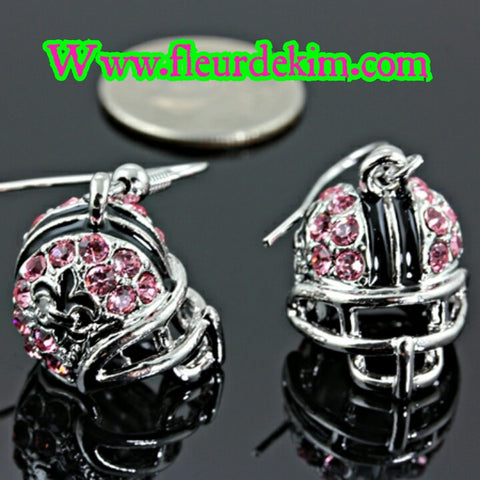 pink helmet fleur earrings