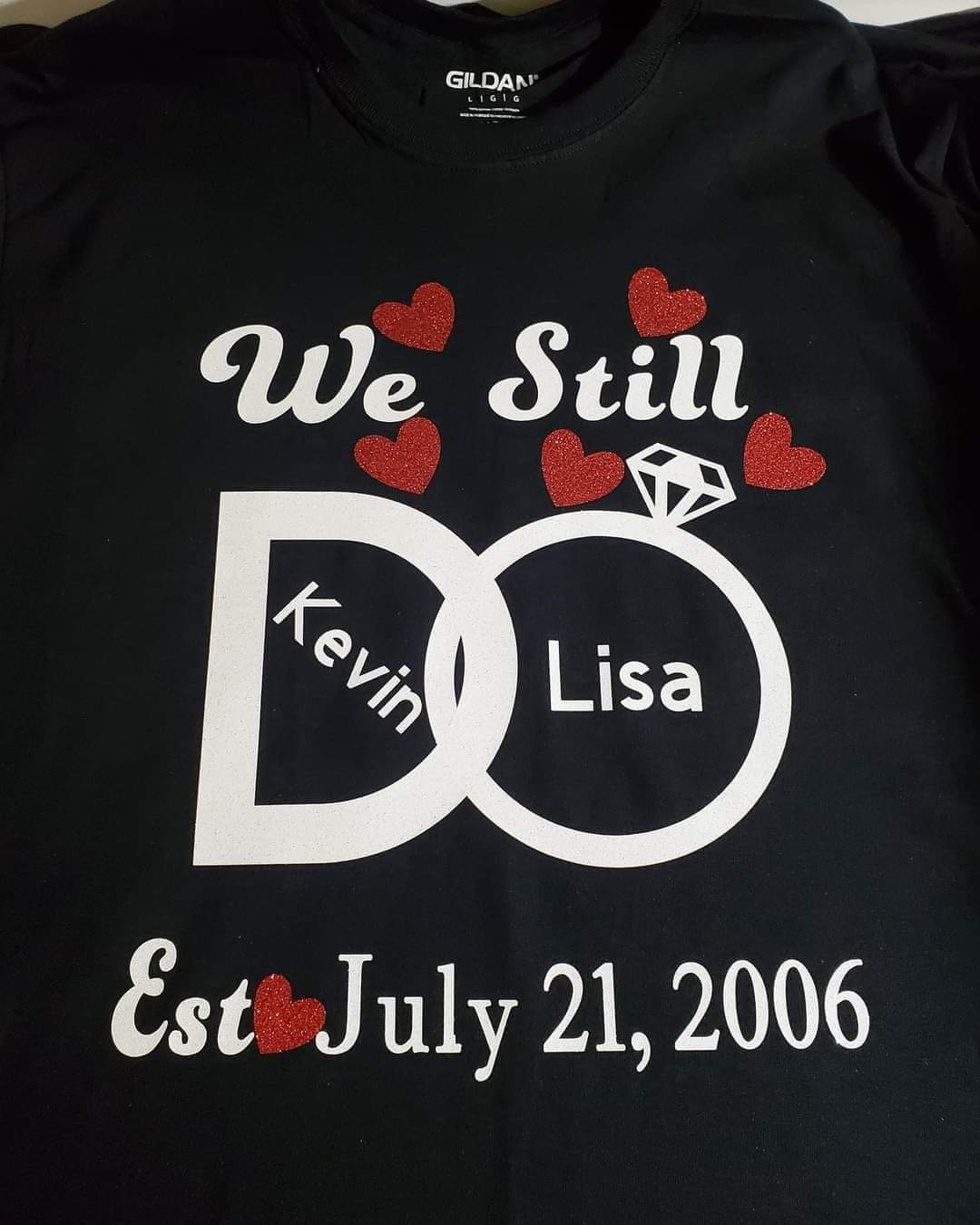 Anniversary shirt (customize your name and date and colors)