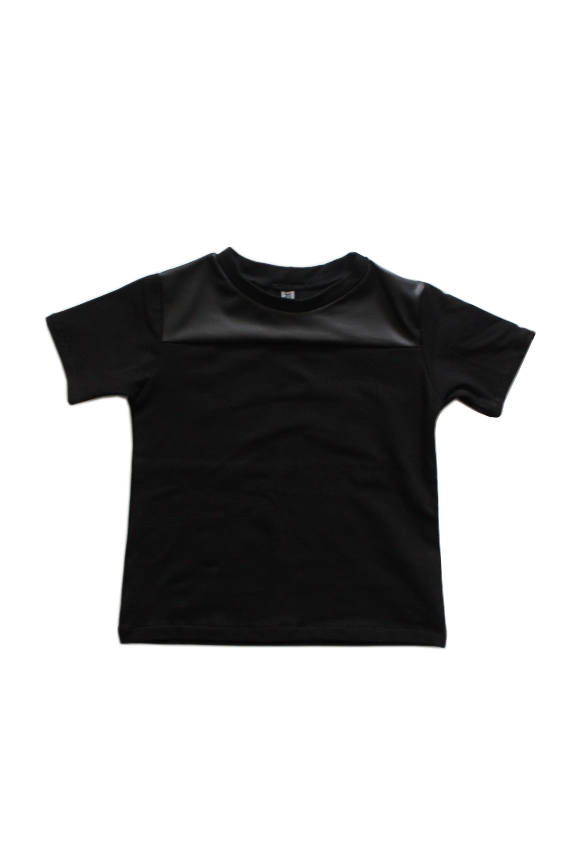 Faux Leather Contrast Tee - Black