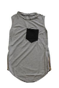 Zipper Pocket Tank - Striped