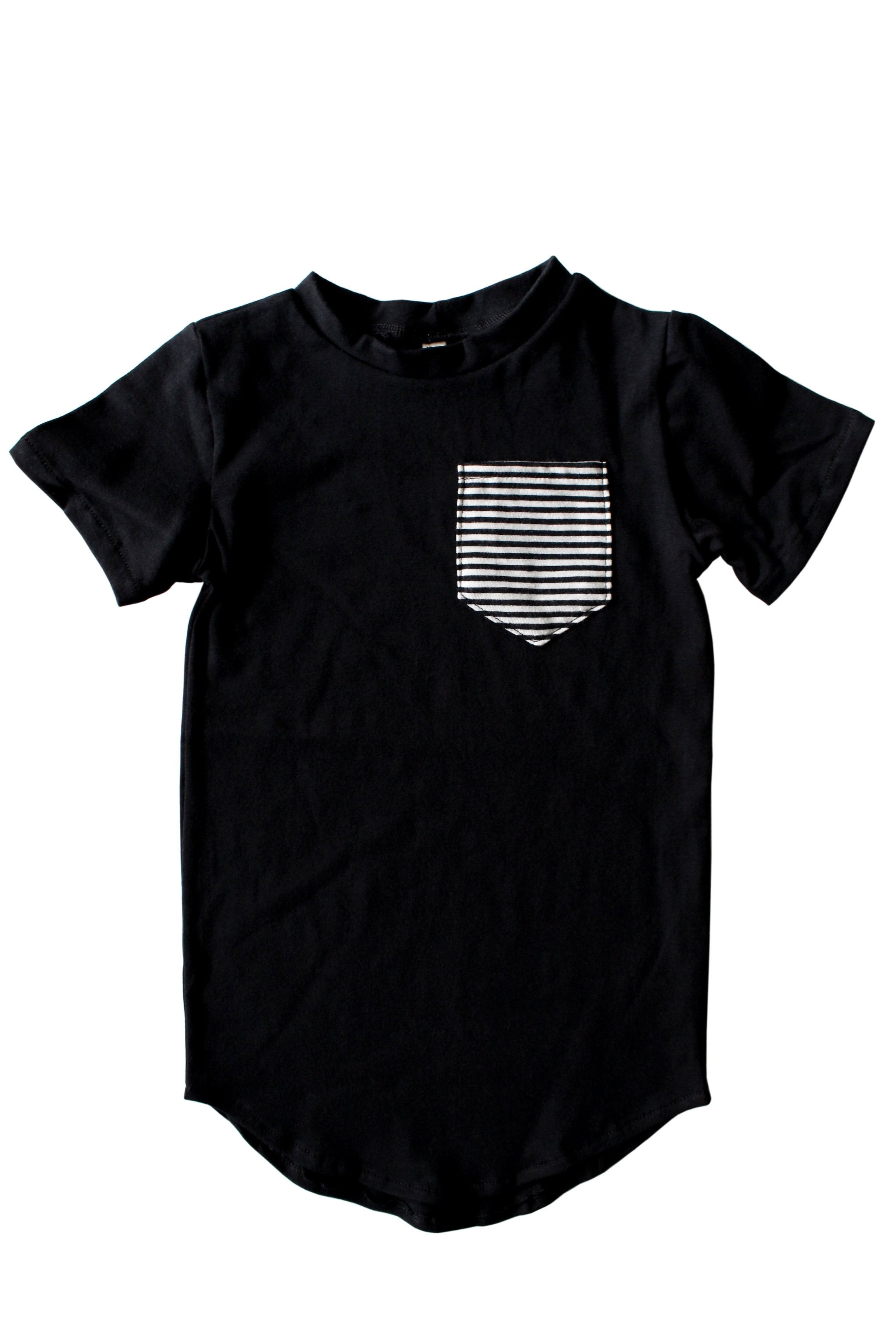 Tail Pocket Tee | Black & B/W Stripe