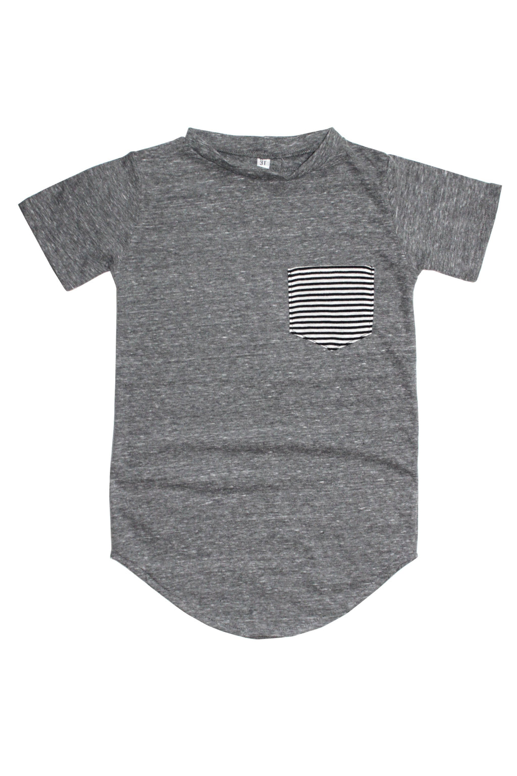 Tail Pocket Tee | Tri-Blend Grey & B/W Striped Pocket